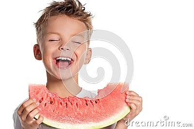 Boy with watermelon