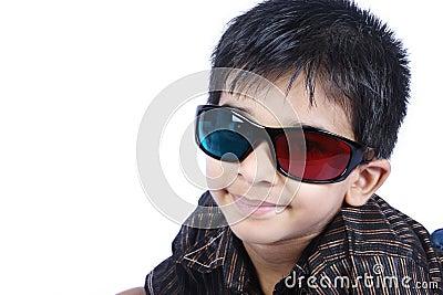 Boy wearing 3d Glasses