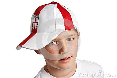 Boy wearing England Football Cap