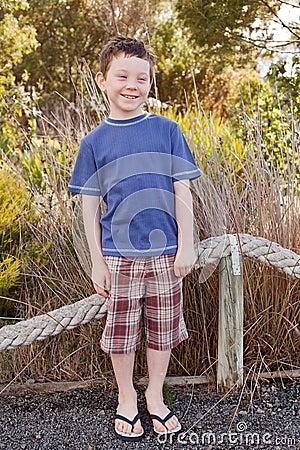 Boy wearing flip flops