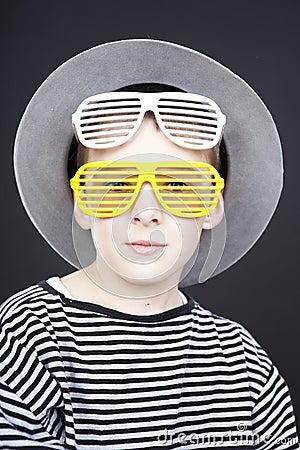 Boy wearing funny hat