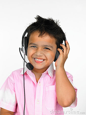 Boy wearing head phones
