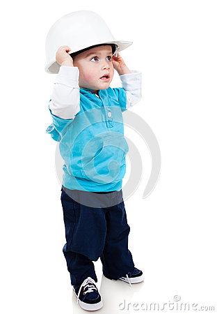 Boy wearing a helmet