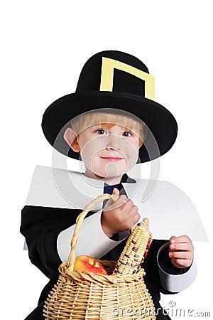 Boy wearing a Pilgrim Costume