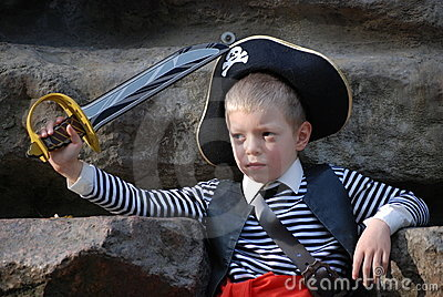 Boy wearing pirate costume