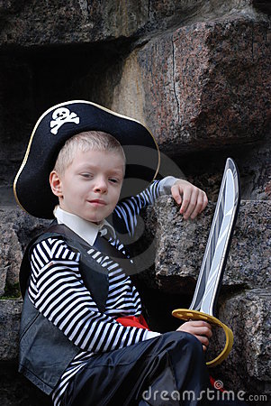 Boy wearing pirate costume
