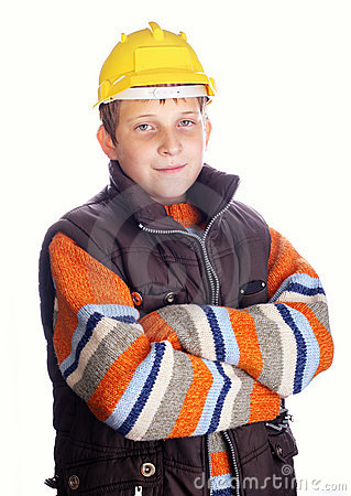 Boy wearing protective helmet