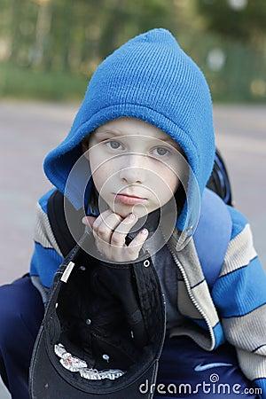 Boy wearing warm coat