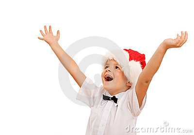 Boy welcoming the christmas season