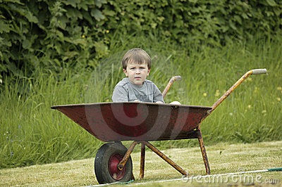 Boy in a wheelbarrow