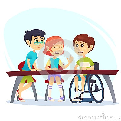 Boy in wheelchair sitting at table in canteen and talking to friends. Happy kids students having conversation. School inclusion co Cartoon Illustration