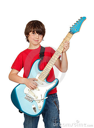 Free Boy Whit Electric Guitar Stock Image - 14442221