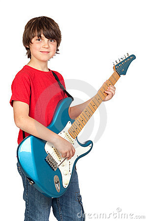 Free Boy Whit Electric Guitar Stock Photography - 14442932