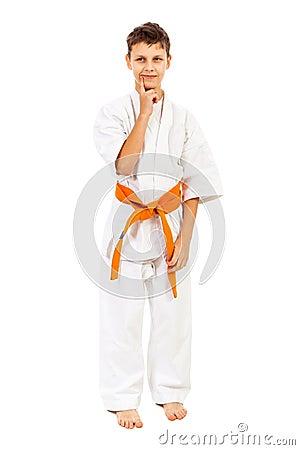 Boy in white kimono dreaming