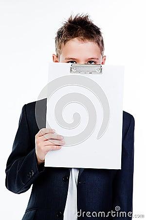 Boy with a white sheet