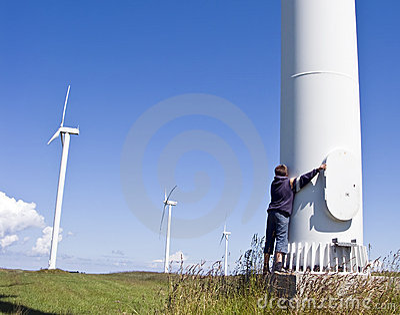 Boy and wind turbine