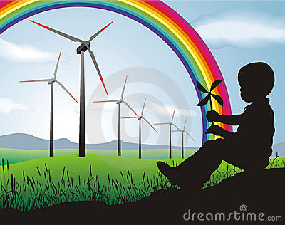 Boy and Wind turbine