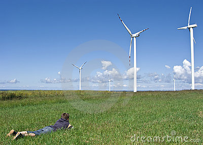 Boy and wind turbines