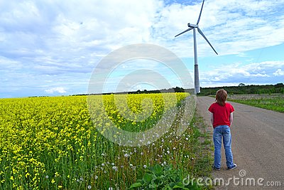 Boy and windmill
