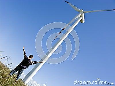 Boy and windturbine