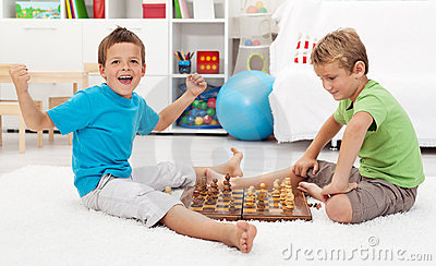 Boy wins chess game