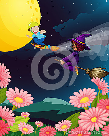 A boy and witch flying