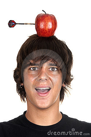Free Boy With Apple On His Head And Dart Stock Image - 21108021
