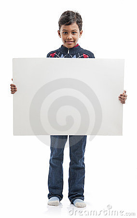 Free Boy With Blank Board Royalty Free Stock Photography - 23623257