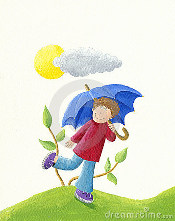 Free Boy With Blue Umbrella Stock Images - 12819414