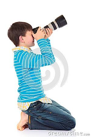 Free Boy With Camera Royalty Free Stock Photo - 8330345