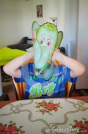 Free Boy With Elephant Mask Stock Image - 27546761