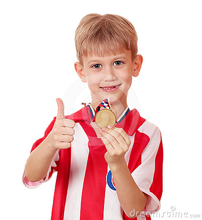 Free Boy With Gold Medal Stock Image - 24291951