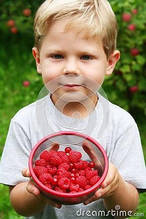 Free Boy With Raspberries Stock Photos - 8155183