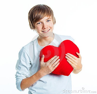 Free Boy With Red Heart Stock Images - 23286574