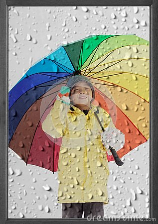 Free Boy With Umbrella In Winter Rain Stock Photo - 125908970