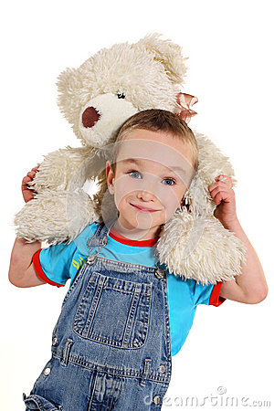 Free Boy With White Little Bear Stock Photos - 27565853