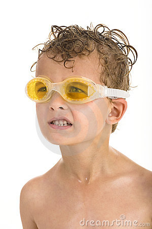 Free Boy With Yellow Swimming Goggles And Wet Hair Royalty Free Stock Photography - 7058437