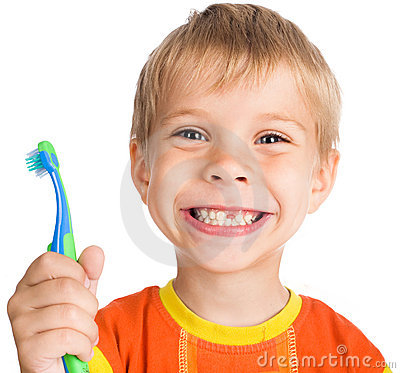 Free Boy Without One Teeth With Toothbrush Stock Image - 12672581