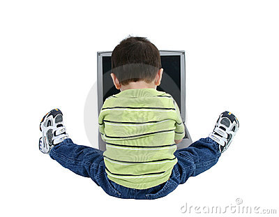 Boy Working On Laptop Over White