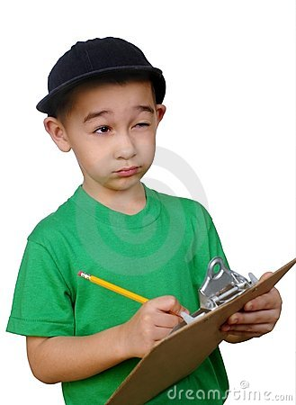 Boy writing on a clipboard