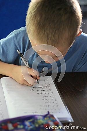 Boy writing homework