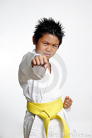 Boy with yellow belt Practicing