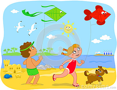 BoyBoy and girl playing with kites at the beach