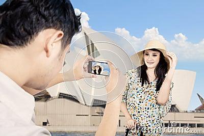 Boyfriend took picture of girlfriend in Sydney