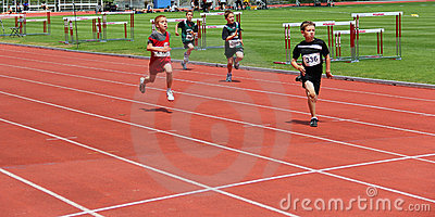 Boys on the 100 meters dash Editorial Stock Photo