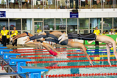Boys 100 Meters Freestyle Swimming Action Editorial Photography