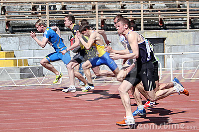Boys on the 100 meters race Editorial Photography