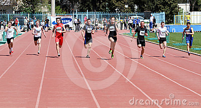 Boys on the 100 meters race Editorial Stock Photo