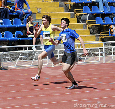 Boys on the 100 meters race Editorial Photo