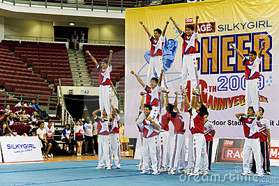 Boys  Cheerleading Action Editorial Photography